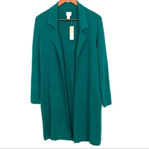 CHICO'S Green Long Collared Mabel Cardigan Size 1
